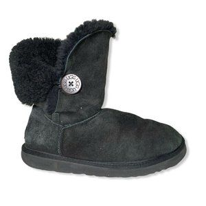 Ugg Bailey Button Womens Size 8 Black Suede Lined
